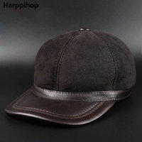 genuine leather men baseball cap hat brand new men's real leather adult solid adjustable army hats/caps