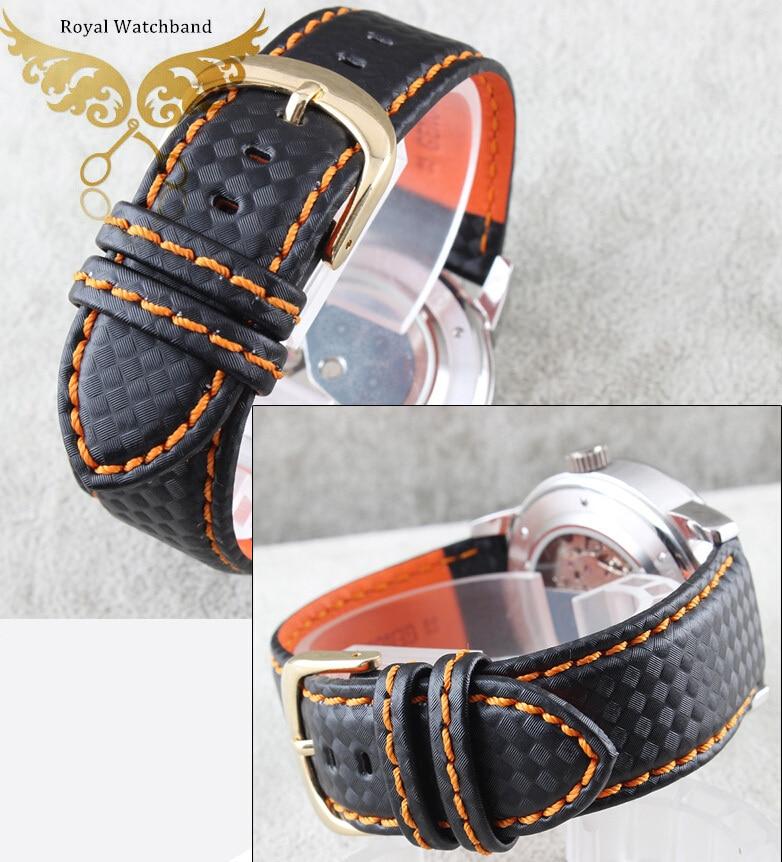 Новопристигнал!!! 22 лента за гледане на водоустойчива въглеродна влакна с часовници с оранжева шевна кожена подплата от закопчалка от неръждаема стомана