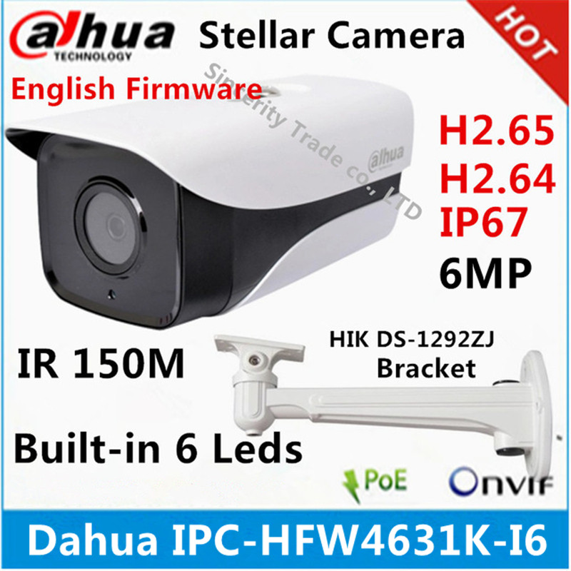 Original Dahua IPC HFW4631K I6 6MP IP Camera POE IP67 built in 6 led IR150M cctv