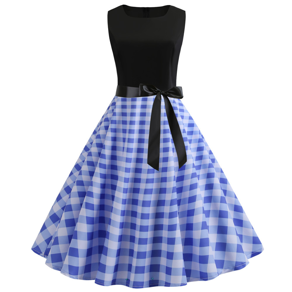 Summer Womens Dresses 2020 Casual Plaid Patchwork Retro Vintage 50s 60s Robe Rockabilly Swing Pinup Vestidos Party Office Dress