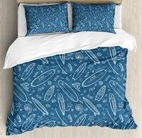 Серфинга постельное белье Blue Waters океанических элементы волны завитками каракули белый выделяет хобби весело раз декоративные Постельное б