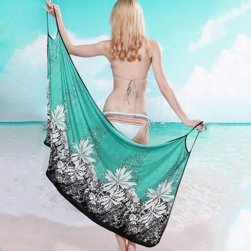 17 New Hot Women Beach Dress Sexy Sling Beach Wear Dress Sarong Bikini Cover-ups Wrap Pareo Skirts Towel Open-Back Swimwear 8