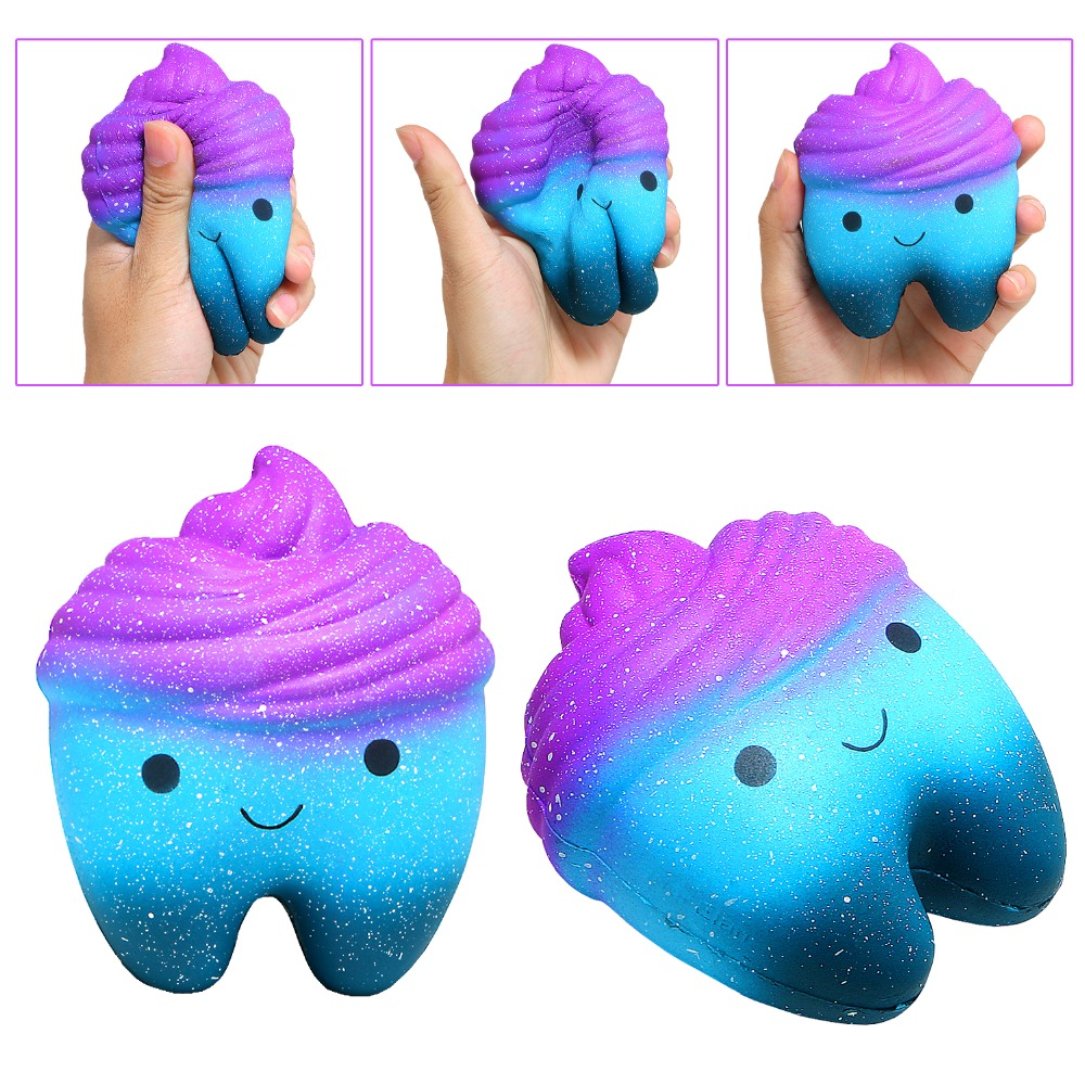 1/Pcs Squishy Galaxy Antistress Toys Smiling Tooth Jumbo Slow Rising Squash A Galaxy Tooth For Kids And Adult Happy Gift Squishi