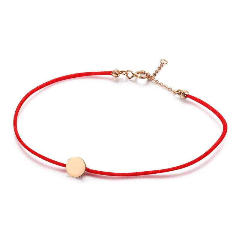VOJEFEN rouge chaîne fil corde Bracelet 18 k or Rose petit rond CZ bracelets pour femme Simple amour Bracelet or chaîne boucle