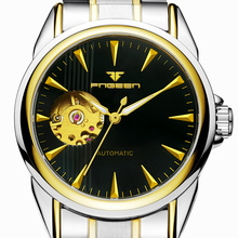 FNGEEN Famous Brand Golden Automatic Mechanical Men Watch Skeleton Stainless Steel Bracelet Self wind Wrist Watch-in Mechanical Watches from Watches on AliExpress