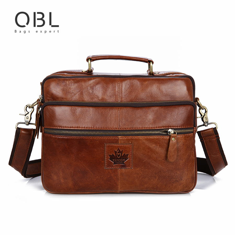 QiBoLu 2017 Cow Genuine Leather Handbags Men Messenger Shoulder Crossbody Bag Sacoche Homme Bolsa Masculina Bolso Hombre MBA71