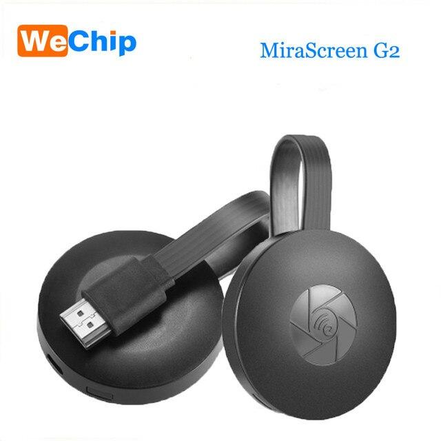 Wechip MiraScreen G2 جهاز استقبال للتليفزيون دُنجل لاسلكي جهاز استقبال للتليفزيون 2.4 جيجا هرتز 1080P HD chome cast دعم HDMI Miracast Airplay لنظام أندرويد iOS