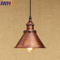 IWHD Vintage Industrial Hanging Lamp LED Iron Retro Pendant Light Fixtures Loft Style Kitchen Dining Bar cafe Pendant Lighting