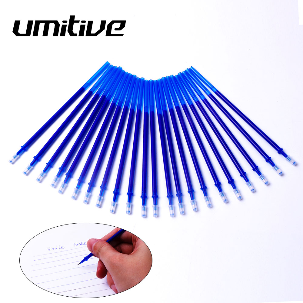Umitive10/30pcs 0.5mm Erasable Gel Pen Refill Black Blue Ink Rod Magic Washable Handle School Office Writing Supplies Stationery