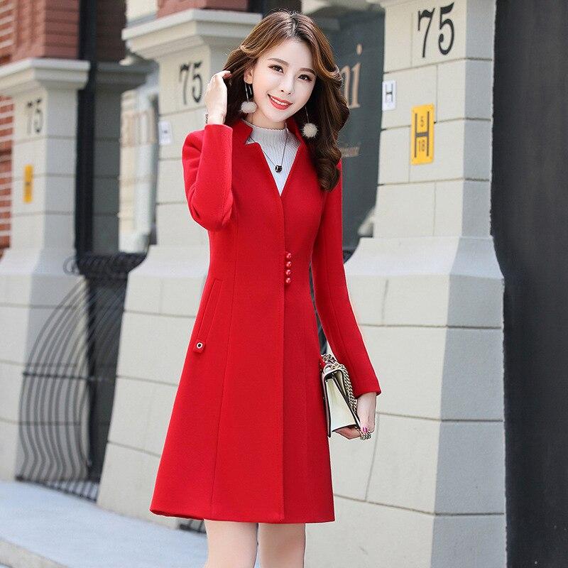 Chaqueta Claro Lana Oficina Sólido Rojo Cuello Para Abrigo Mujeres Y xvgw8aqHnW