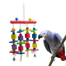 1 Pcs Parrot Blocks Toys Wood Ladder Macaw Colorful Bite String Chewing Swing Toy For Small Medium And Large Parrots toys