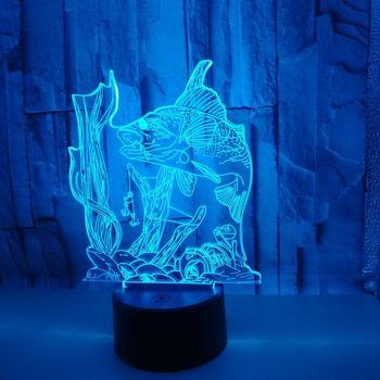 Ryby 3d led lampa połowów siedem kolorów sterowanie dotykowe Led 3d Stereo Vision lampa stołowa dla dzieci dekoracji pokoju 3D światła