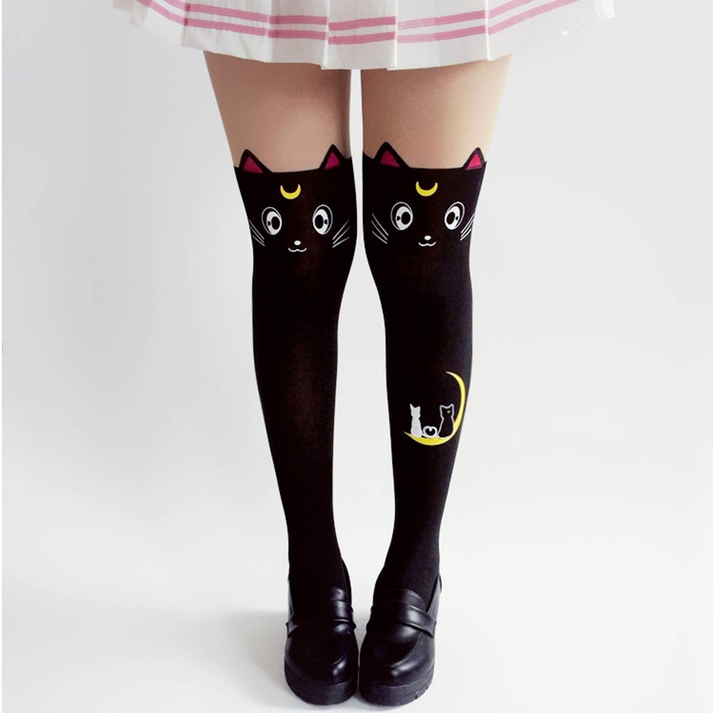 ef4f58b0226 VEVEFHUANG Hot Anime Sailor Moon Cosplay Costume Women Luna Cat Socks  Pantyhose Silk Tights Leggings Stockings Black And White