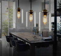 Dining Room Living Room Bar Pendant Light Modern Glass Pendant Lamp Vintage Bulb Modern Crystal Chandelier