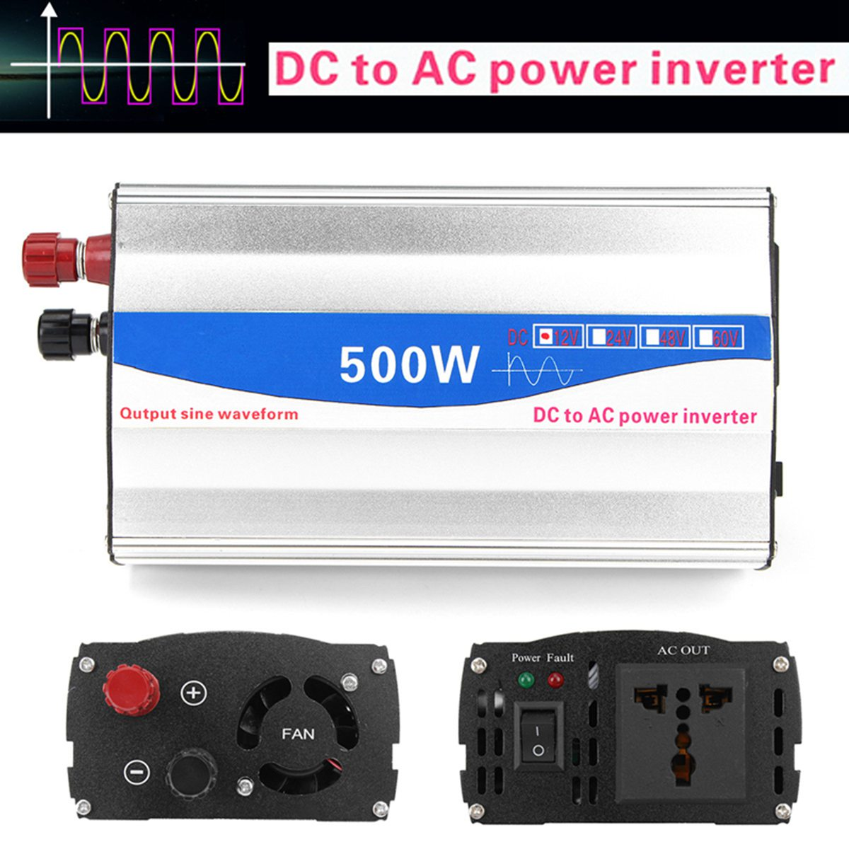 500W DC 12V to AC 220V Car Inverter Transformer Pure Sine Wave Car Power Inverter Charger Converter Car Vehicle Power Supply 1500w car power inverter tyn 1500nb inverter auto inverter car power inverter vehicle power supply charger converter adapter