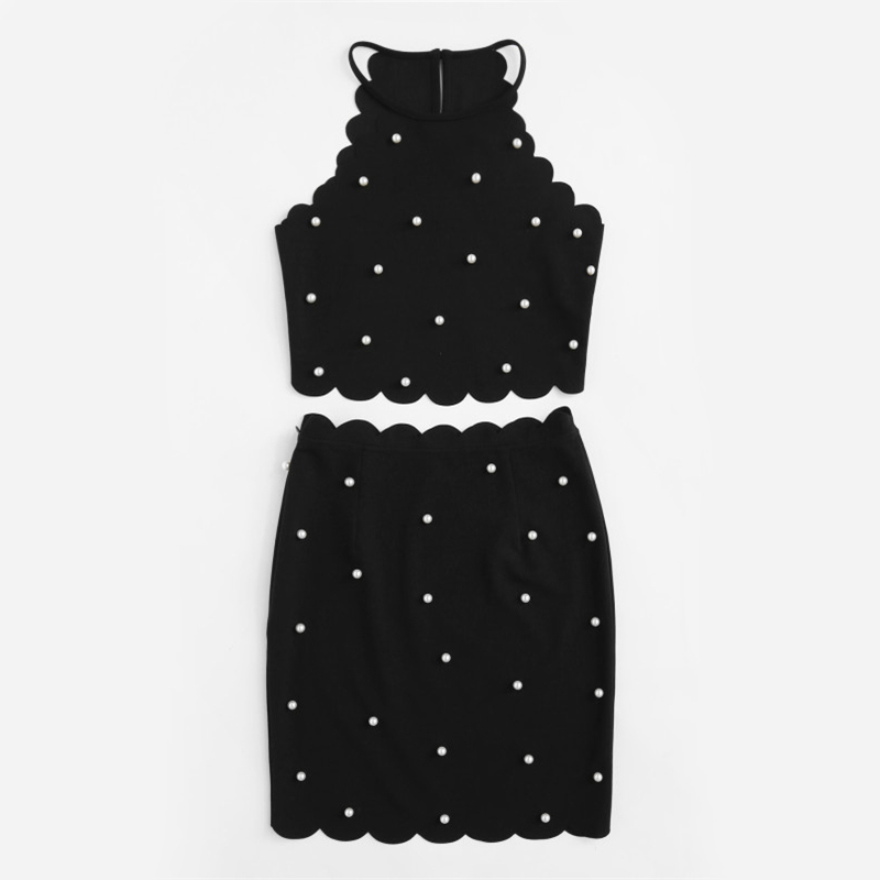 Sexy Womens Two Piece Sets 2019 Summer Ladies Black Sleeveless Pearl Beading Halter Top And Skirt Set Summer Clothes For Women