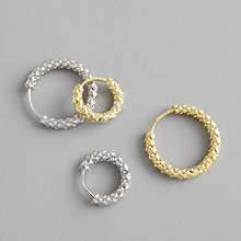 HFYK 2019 Gypsophila Gold Round Circle Hoop Earrings For Women 925 Sterling Silver argolas em brincos pendientes aro