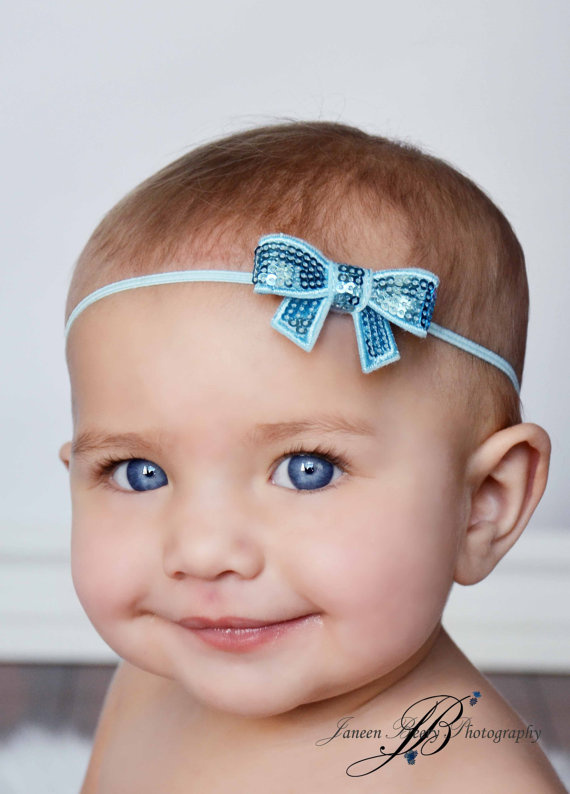 Hot Chic Baby Sequin Bow Headbands on Elastic Band Toddler Girls Bow Headbands Newborn Mini Sequin Bow Headwear