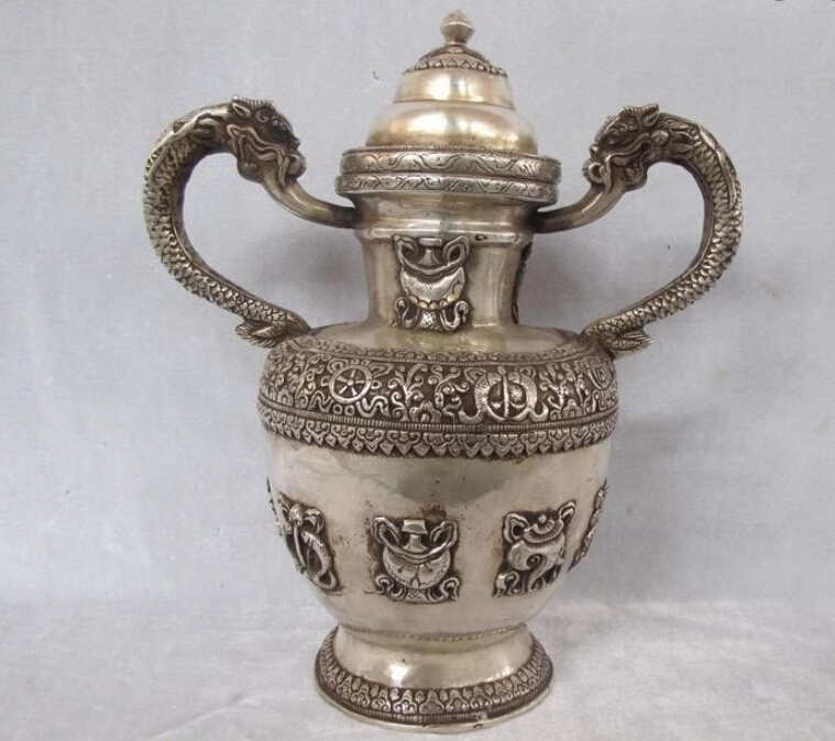 free Tibet Buddhism Classical Silver carved Eight treasures Two Dragon Tea Wine Pot fastfree Tibet Buddhism Classical Silver carved Eight treasures Two Dragon Tea Wine Pot fast