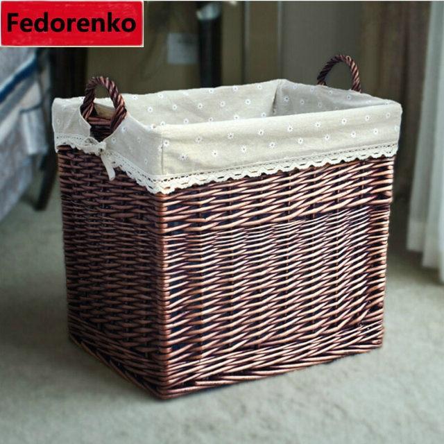 Large Rattan Wicker Storage Baskets Woven Straw Laundry Basket Wicker Cesto  De Roupa Suja Kids Storage Basket For Toys Wasmand