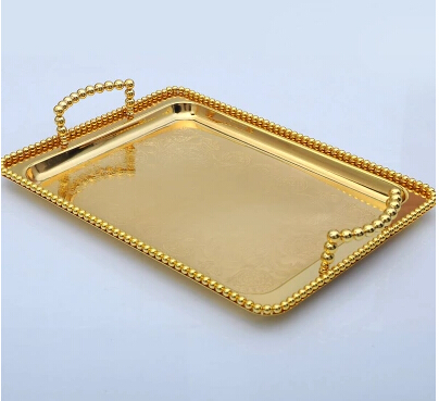 34cm 22cm Small Size Gold Plated Rectangle Metal Food Tray Serving Fruit