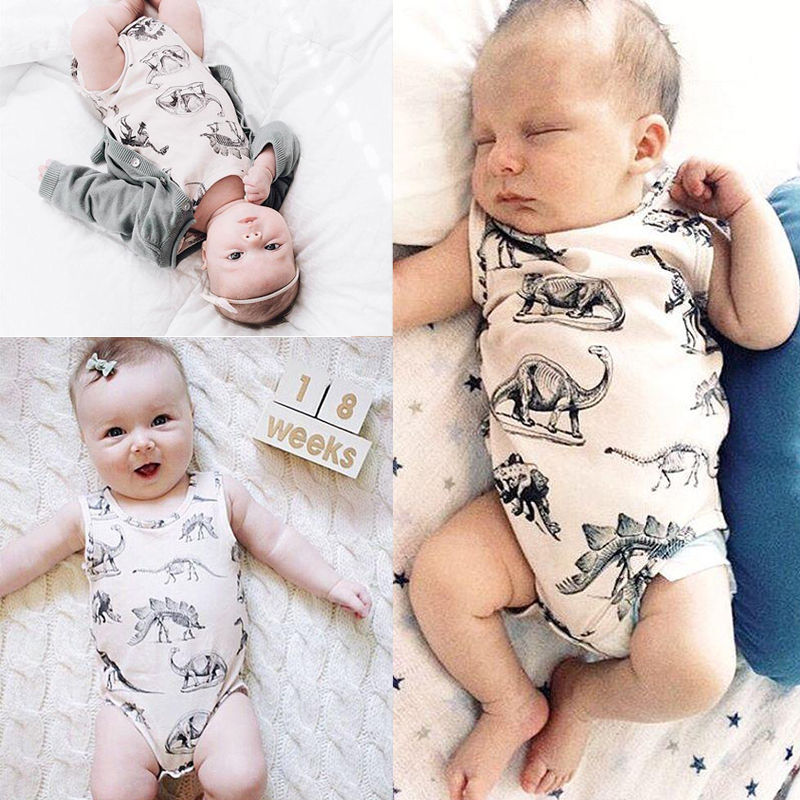 Summer Casual Infant Baby Girl Boy Clothes Print Dinosaurs Sleeveless Cotton Romper Outfits Summer One Piece Suit kid newborn summer clothes toddler baby boy girl sleeveless floral cotton romper outfits sunsuit