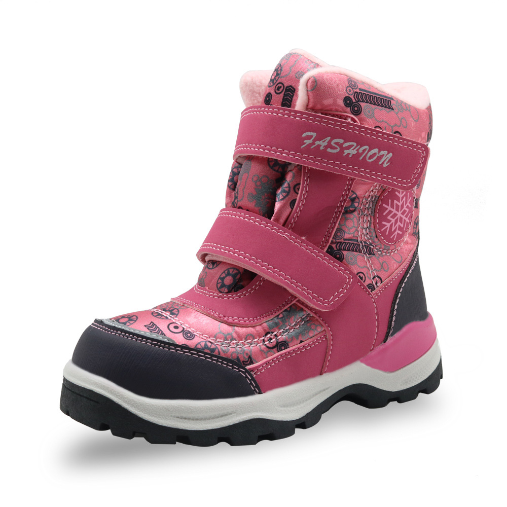 ULKNN Girls snow boots winter warm non-slip shoes wool lining high quality childrens