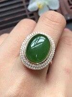 Ragazze regalo regalo di compleanno mamma reale 925 sterling silver natural green jasper anello uovo surfce 10*15mm fine gioielli
