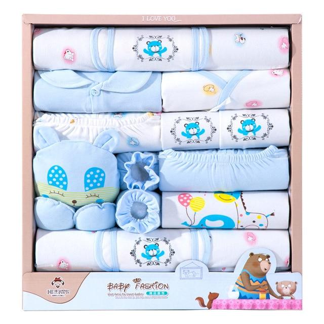 Ropa de bebé de 18 piezas para niño, ropa para recién nacido, niño, primavera y otoño, atuendo para niños recién nacidos de algodón con oso feliz