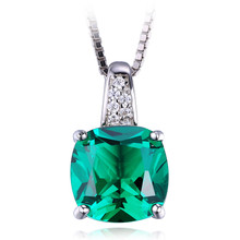 Jewelrypalace cojín 3.4ct verde creado nano ruso solitario esmeralda colgante plata de ley 925 joyas finas sin cadena