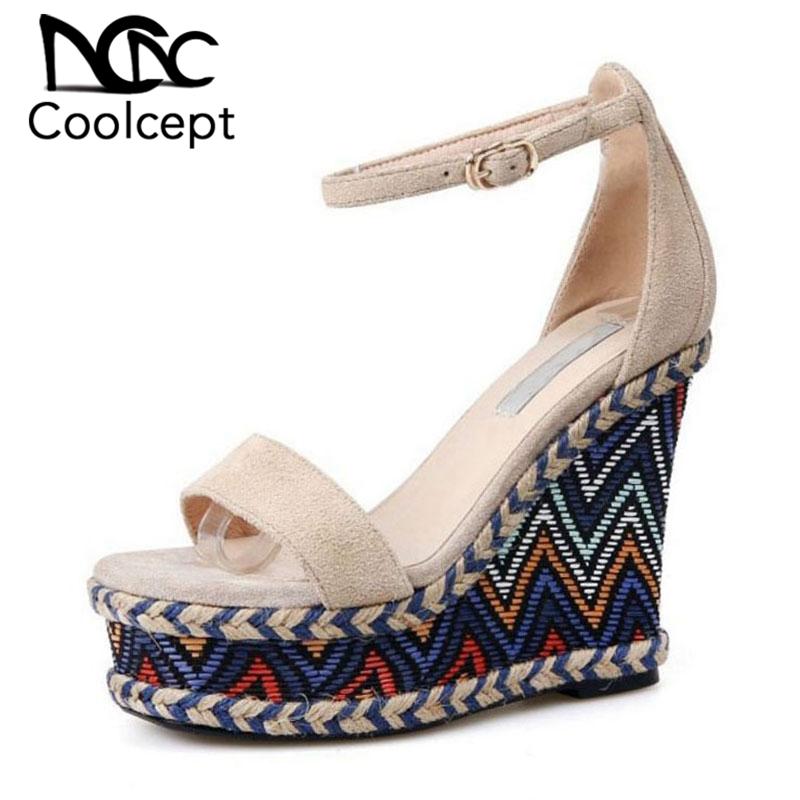 Coolcept Size 32-42 Ladies Wedges Sandals Ankle Strap Fisherman High Heels Summer Shoe Women Platform Daily Office Lady Footwear
