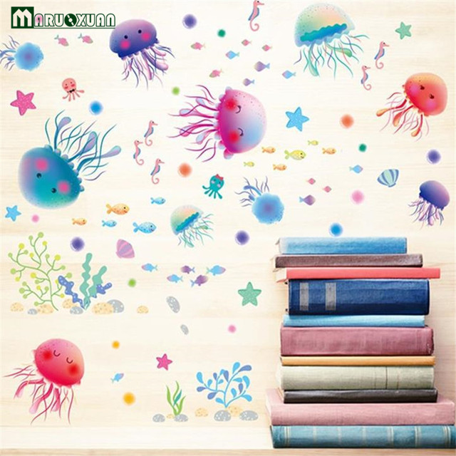 YunXi Cartoon Seashells Jellyfish Stickers Wallpapers Kids Room Bathroom Background Decorative Waterproof Wall