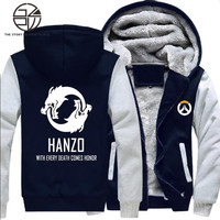 Gzpw cosplay ow hanzo winter thick coat cartoon hand-painted men's cashmere warm jacket recreational sports hoodies S-5XL