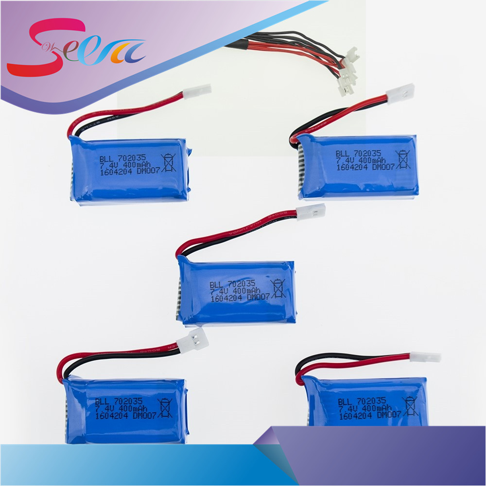 5Pcs 7.4V 400mAh 30C Lipo Battery 5 and 1 Torr charging cable 2S for DM007 RC Quadcopter Global GW007 Part cm 052535 3 7v 400 mah для видеорегистратора купить