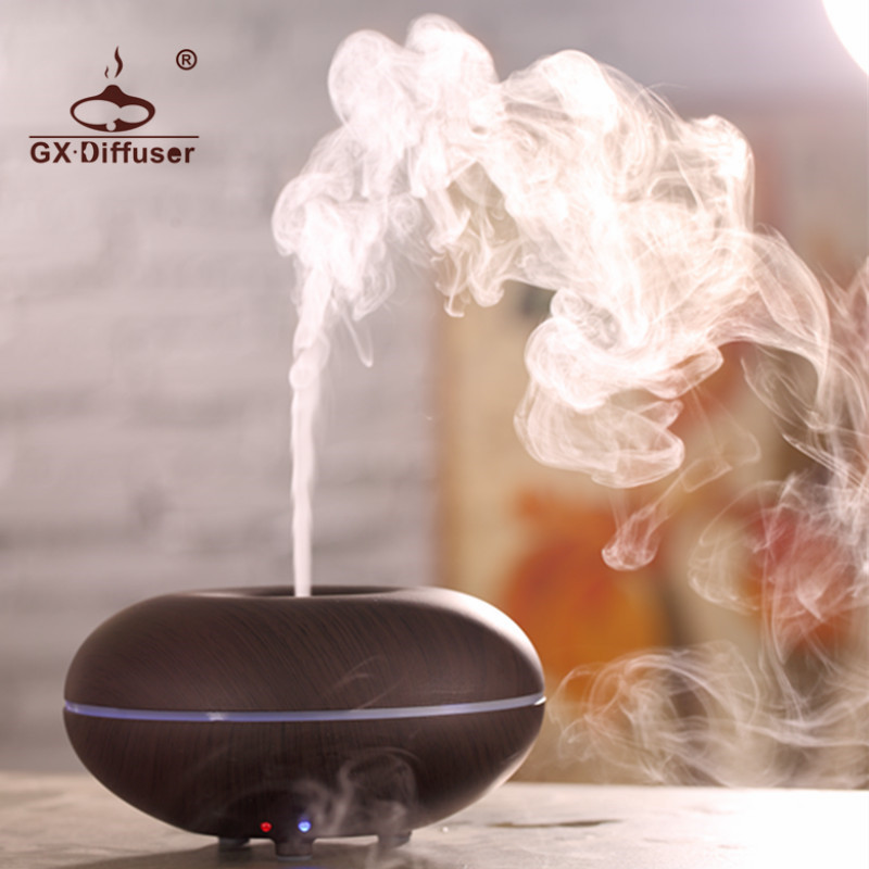 GX.Diffuser Colorful LED Light Changing Ultrasonic Air Purifier Essential Oil Aroma Diffuser Humidifier Aromatherapy Mist Maker