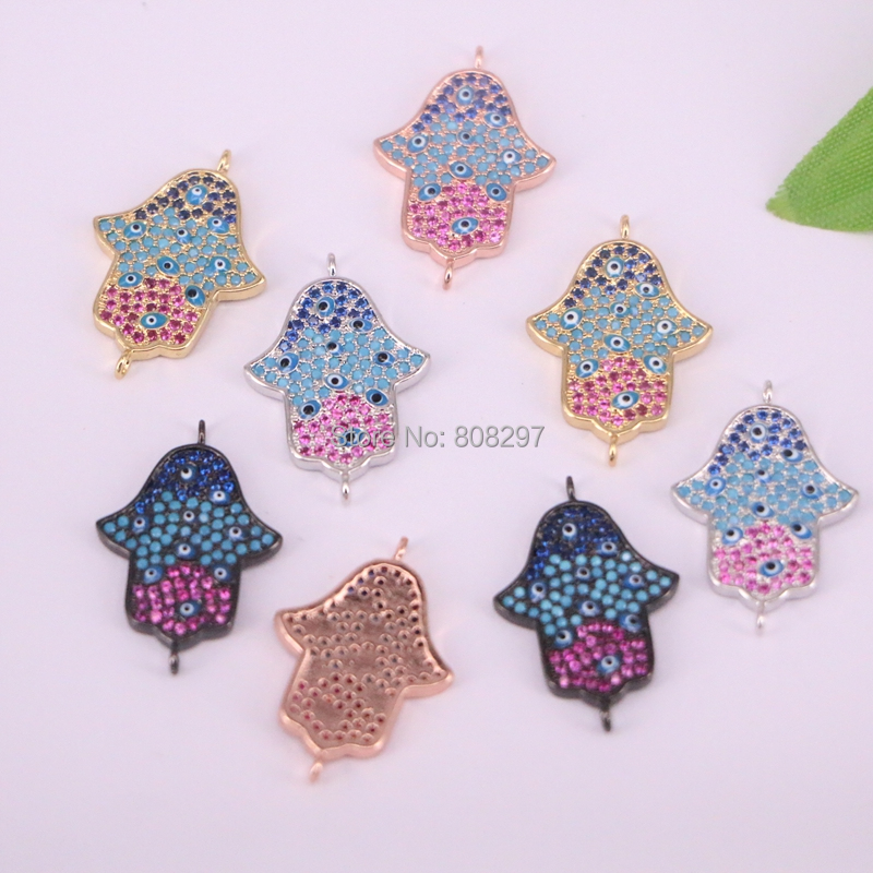 New~ 10Pcs 4 Colors Micro pave Cubic Zirconia Hamsa Hand Connector Bead DIY Jewelry Making-in Beads from Jewelry & Accessories    2