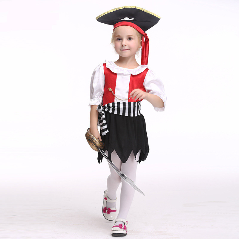 Halloween Cosplay Baby pirate Clothing hat dress Costumes 3 piece Children Set Short sleeves Infant Girls Clothes For Party halloween butterfly wings head band wand white 3 piece set