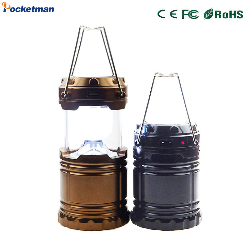 Solar Camping Lantern Rechargeable Hand Lamp Collapsible Tent Lights Emergency lights for Outdoor Lighting LED Hiking Camping
