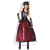 Umorden Halloween Skeleton Witch Corpse Ghost Bride Costumes Women Scary Voodoo Priestess Costume for Adult Cosplay Dress