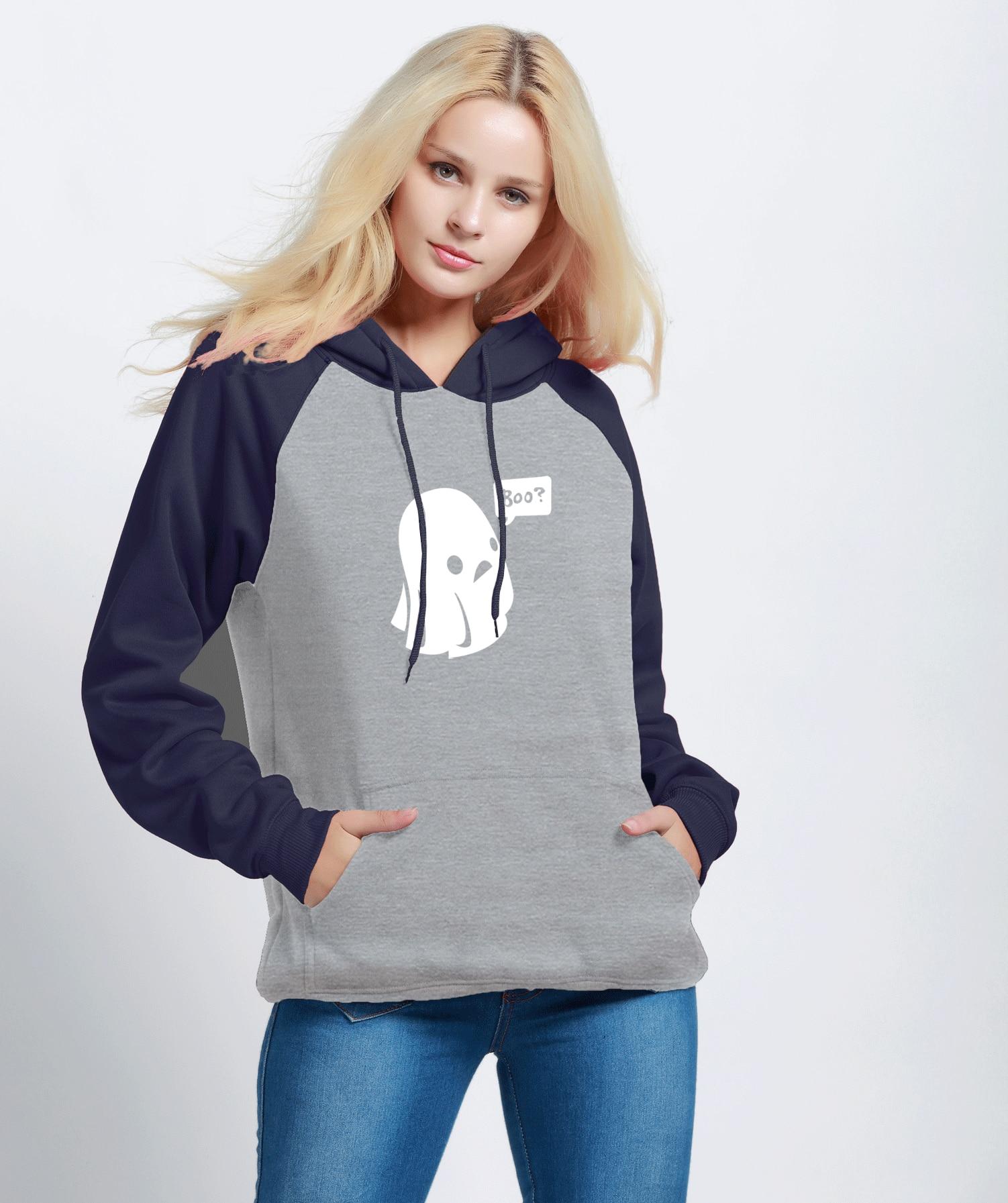 Kawaii Hoodies Print Ghost Boo Halloween Streetwear 2018 Autumn Winter Raglan Sweatshirts Womens Sportswear Harajuku Kpop Hoody