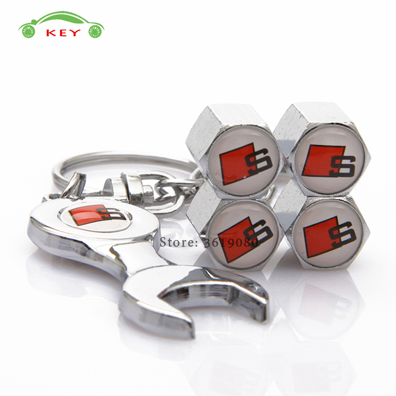 Car Accessories Tire Valve Caps Auto Wheel Stem Covers with Wrench Keychain for S Line Logo for Audi S1 S5 S6 S7 A3 A4L Q7 B6 TT