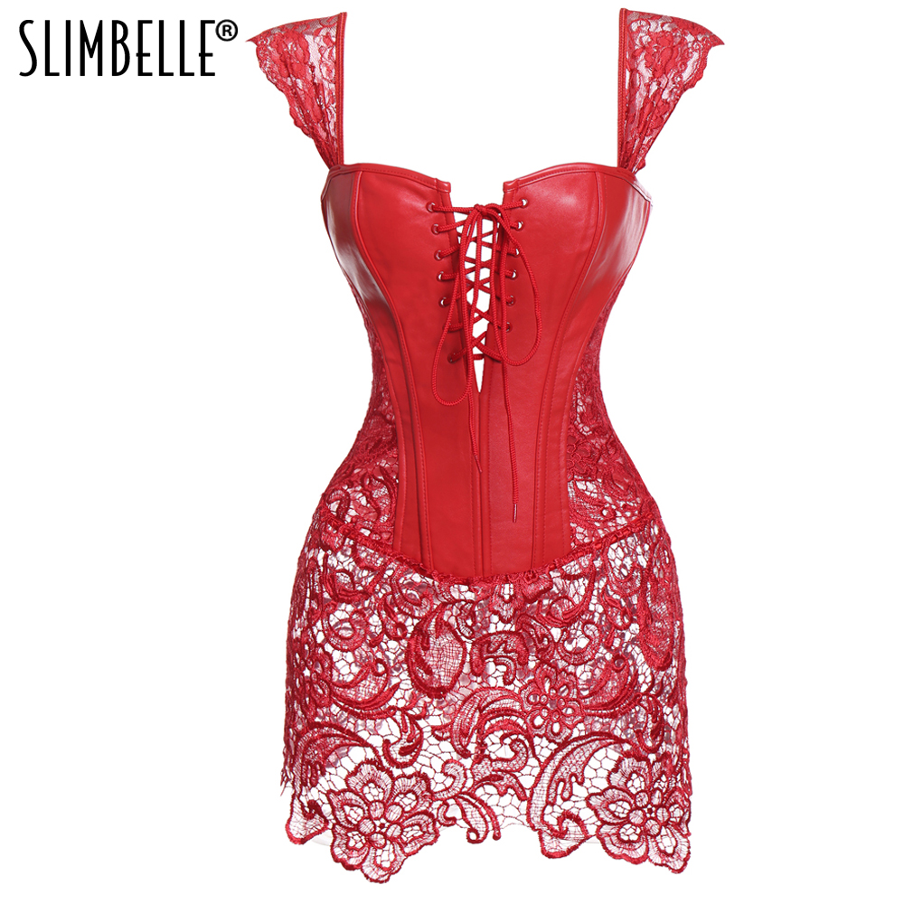 S-6XL Sexy Steampunk   Corsets   and   Bustiers   Burlesque Gothic Lace Steampunk   Corset   Dress Plus Size Costume Floral   Bustier   Dress