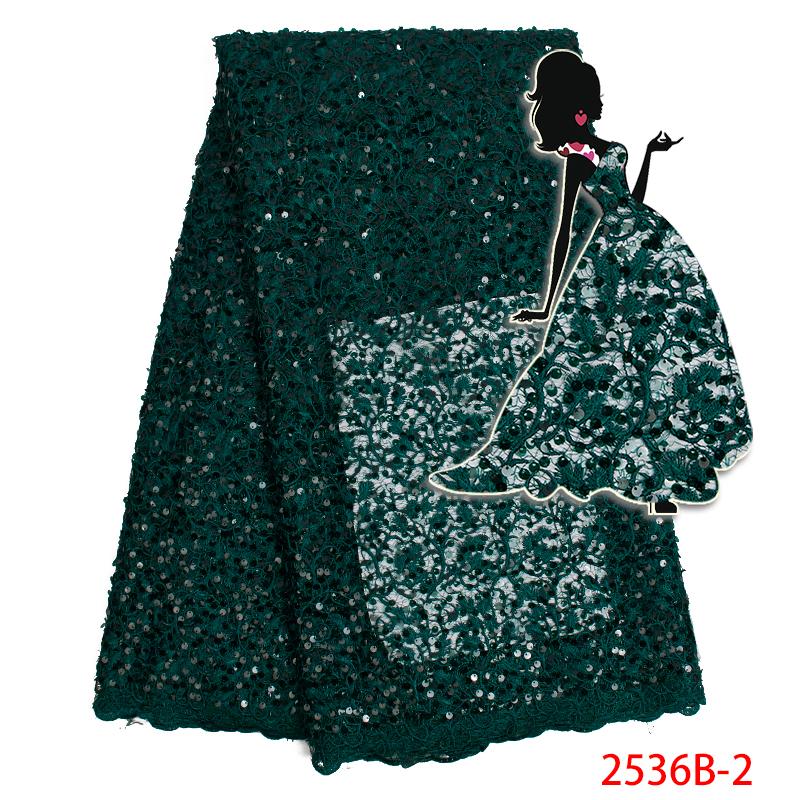 Nigerian Lace Fabrics 2019 High Quality Green Color Organza Lace Fabric French Sequins Tulle Lace Fabric