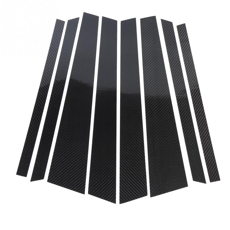 Fibre de carbone voiture fenêtre b-piliers revêtement d'habillage autocollant décoratif pour BMW X5 E70 2008 2009 2010 2011 2012 2013 voiture style garniture