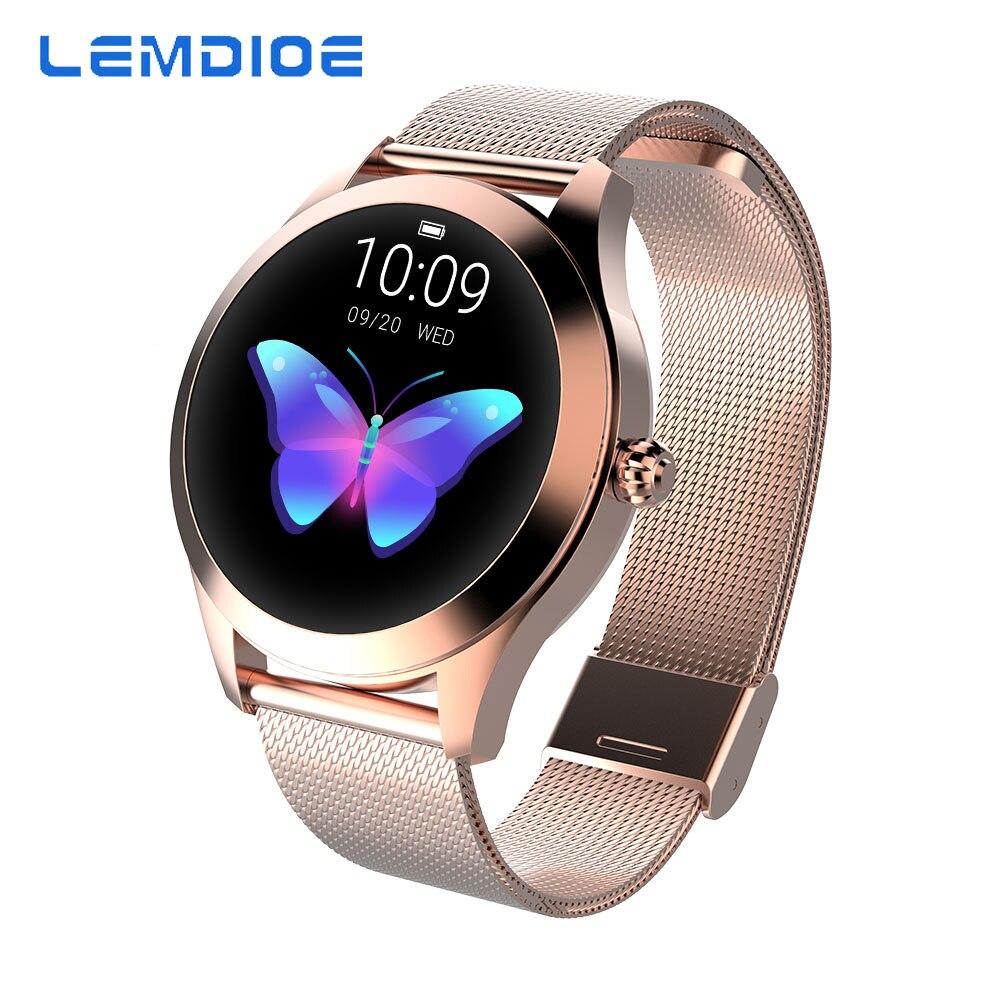 LEMDIOE Femmes montre connectée IP68 moniteur de fréquence cardiaque Message Appel Rappel Podomètre Calories Smartwatch montre femme Pour Android IOS