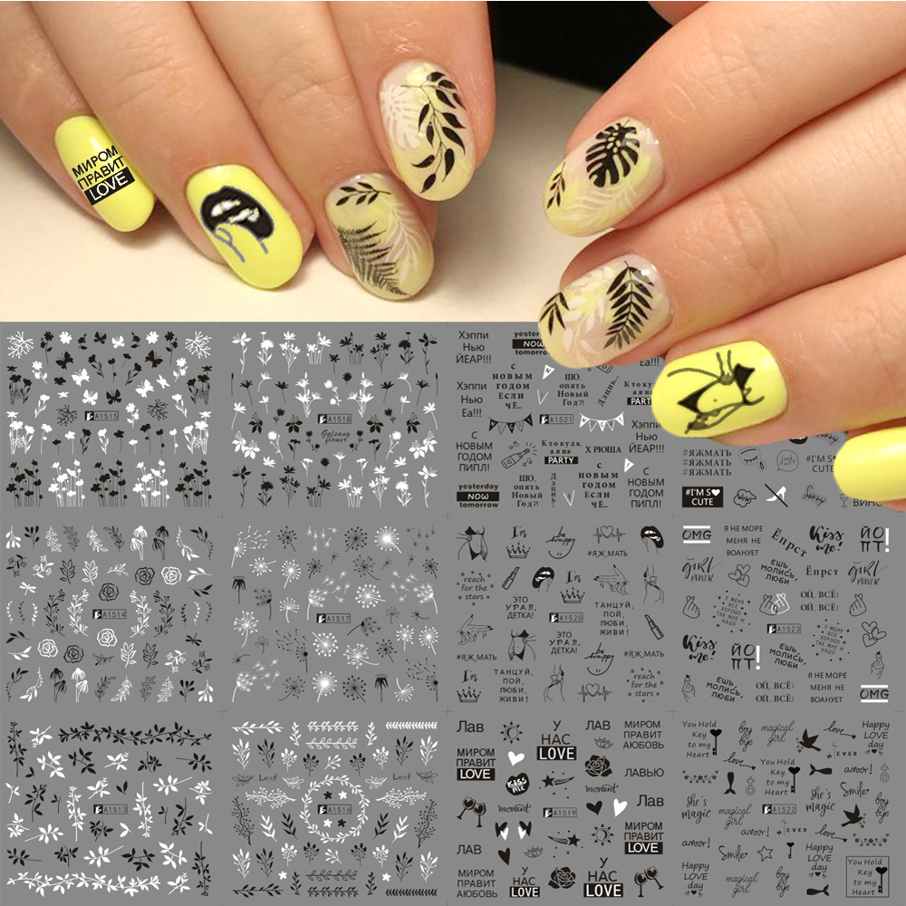 12 Designs Russian Letter Water Nail Stickers Sexy Girl Flower Leaf Sliders For Nail Wraps Manicure Decor Tattoo LAA1513 1524-in Stickers & Decals from Beauty & Health
