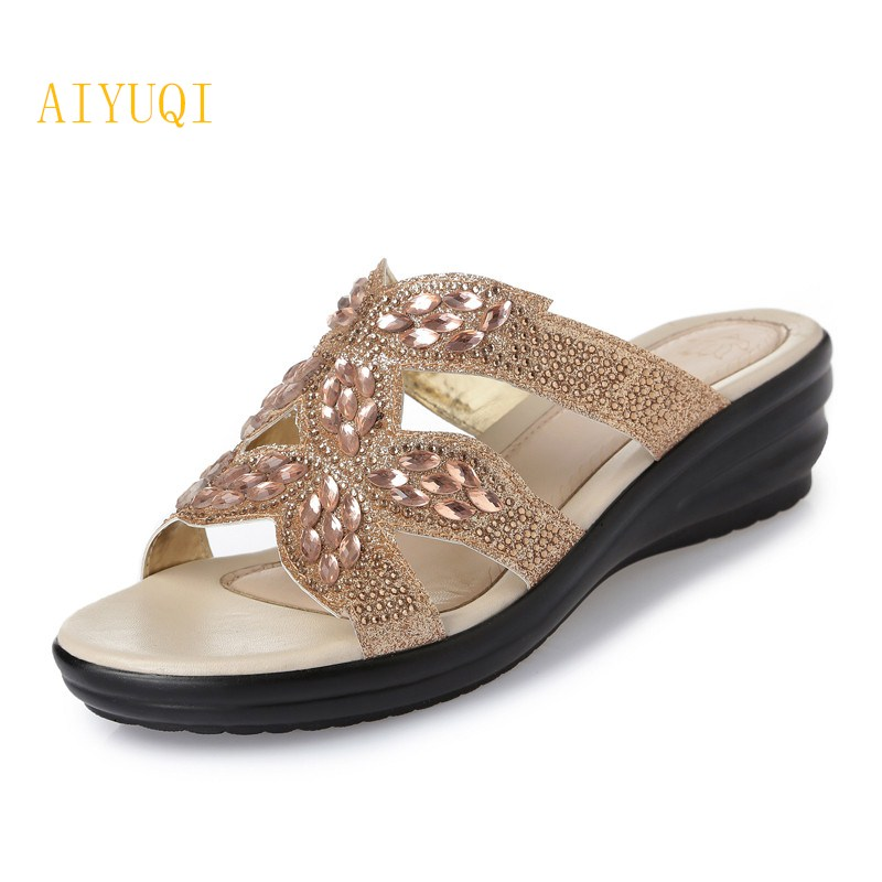 AIYUQI Summer women slippers 2018 new comfortable breathable plus size 41 # 42 # 43 # outside casual flat slippers shoes women aiyuqi 2018 new women s genuine leather shoes casual flat bottom breathable wear comfortable mother shoes female size 41 42 43