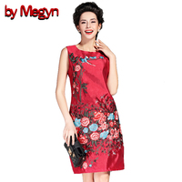 by Megyn 2017 Brand New Women Sleeveless Dress Floral Embroidery A-Line Character Pattern Casual Dresses Women Red 6A98