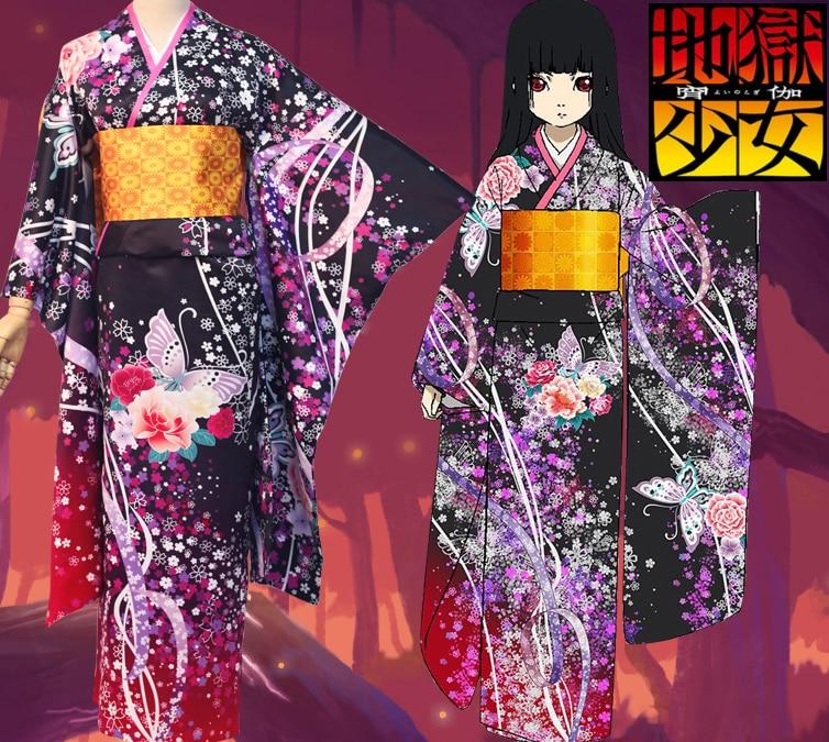 [STOCK]Anime Jigokushoujo S4 figure Enma Ai Butterfly Kimono Bathrobe Uniform Halloween Cosplay costume for women New 2017