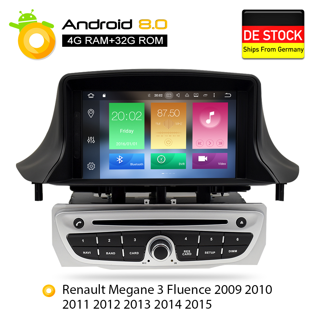 Android 8.0 Car Stereo DVD Player GPS Glonass Navigation for Renault Megane 3 Fluence 4GB RAM Video Multimedia Radio headunit